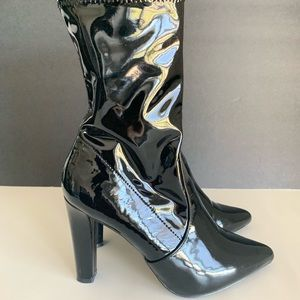 ALDO black patent leather booties